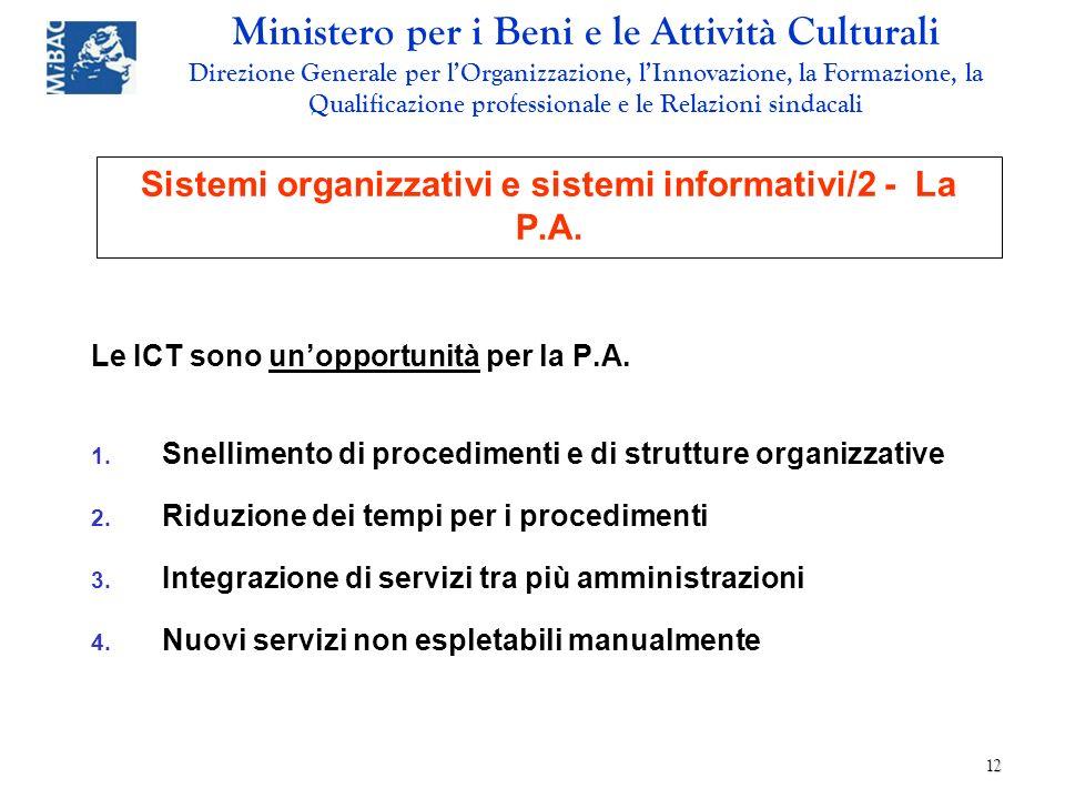 Sistemi organizzativi e sistemi informativi/2 - La P.A.
