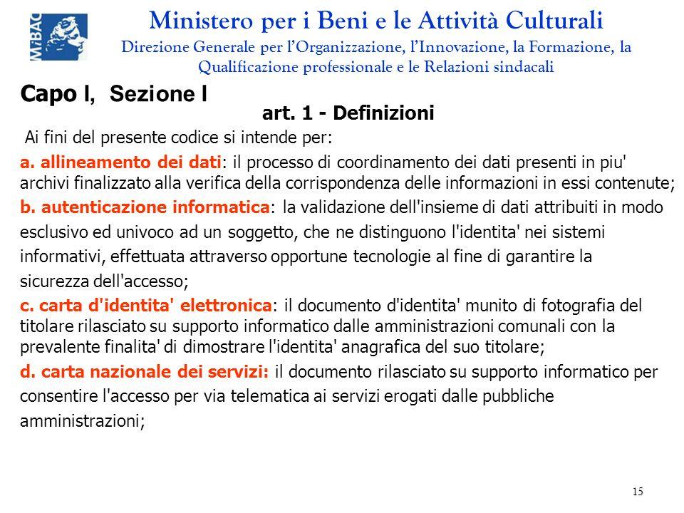 Capo I, Sezione I art. 1 - Definizioni