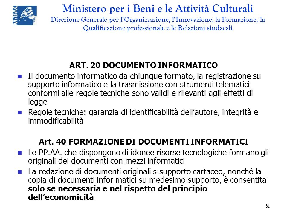 ART. 20 DOCUMENTO INFORMATICO