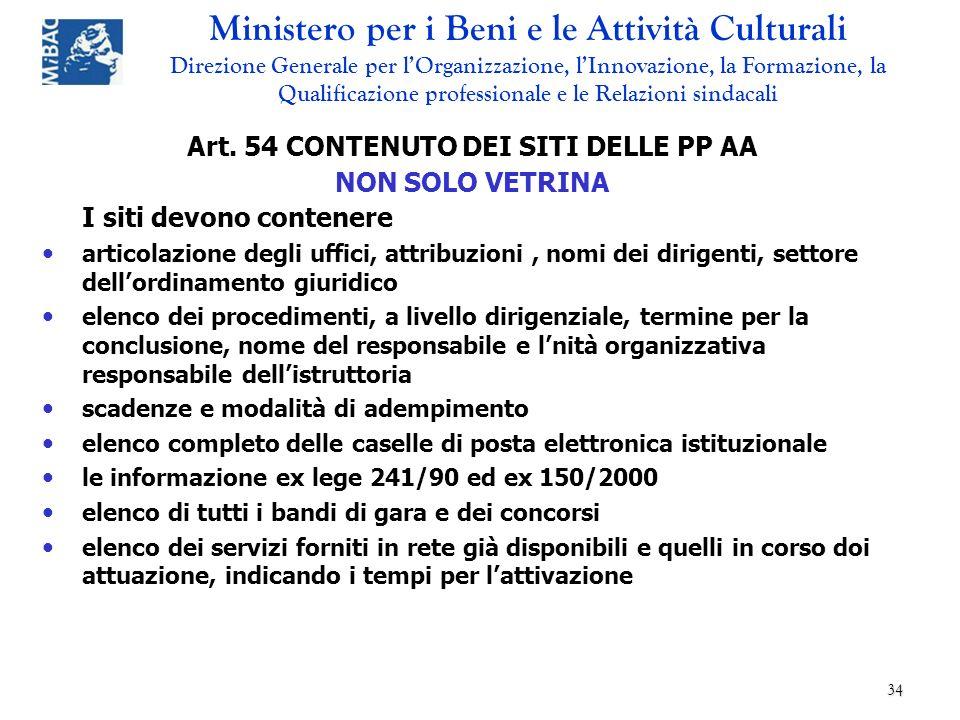 Art. 54 CONTENUTO DEI SITI DELLE PP AA