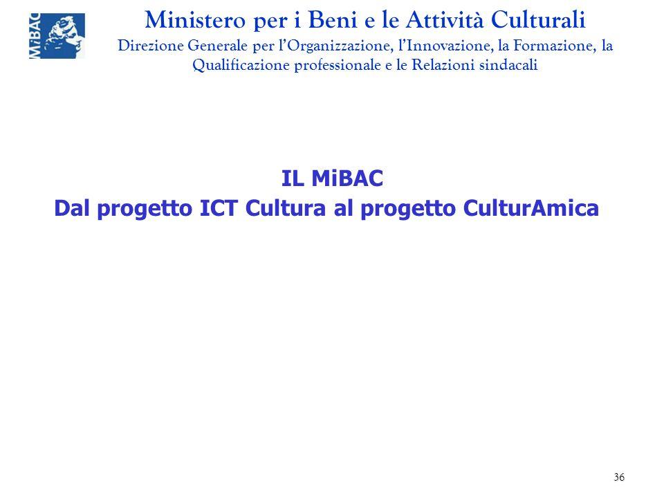 IL MiBAC Dal progetto ICT Cultura al progetto CulturAmica