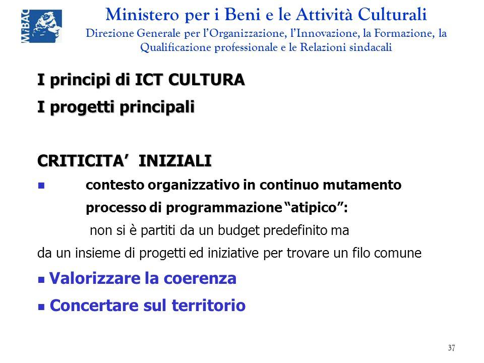 I principi di ICT CULTURA I progetti principali