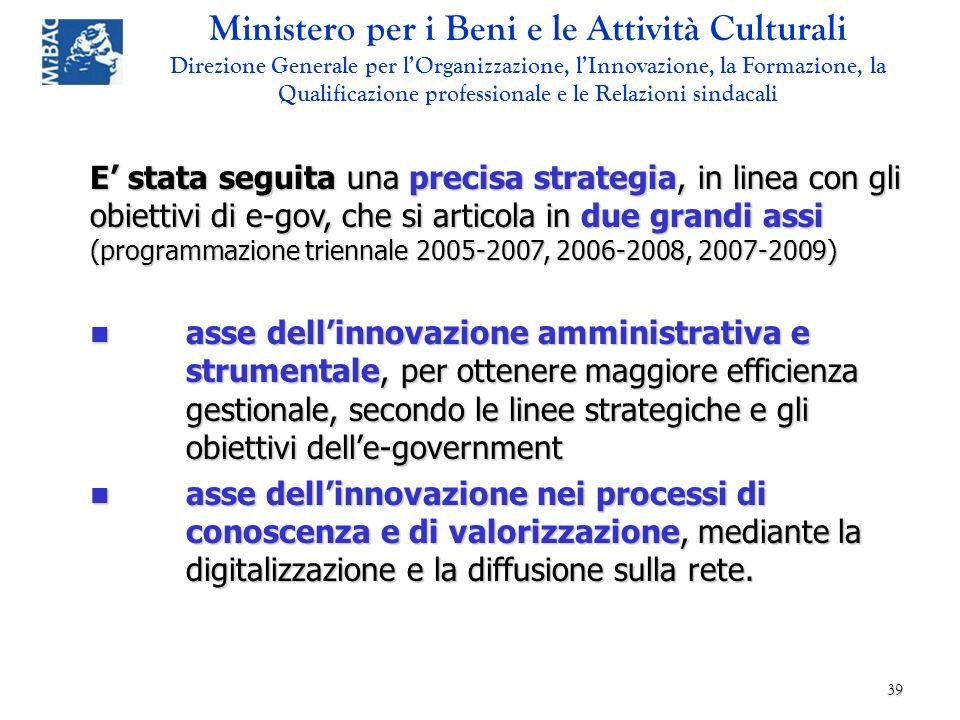 E' stata seguita una precisa strategia, in linea con gli obiettivi di e-gov, che si articola in due grandi assi (programmazione triennale 2005-2007, 2006-2008, 2007-2009)