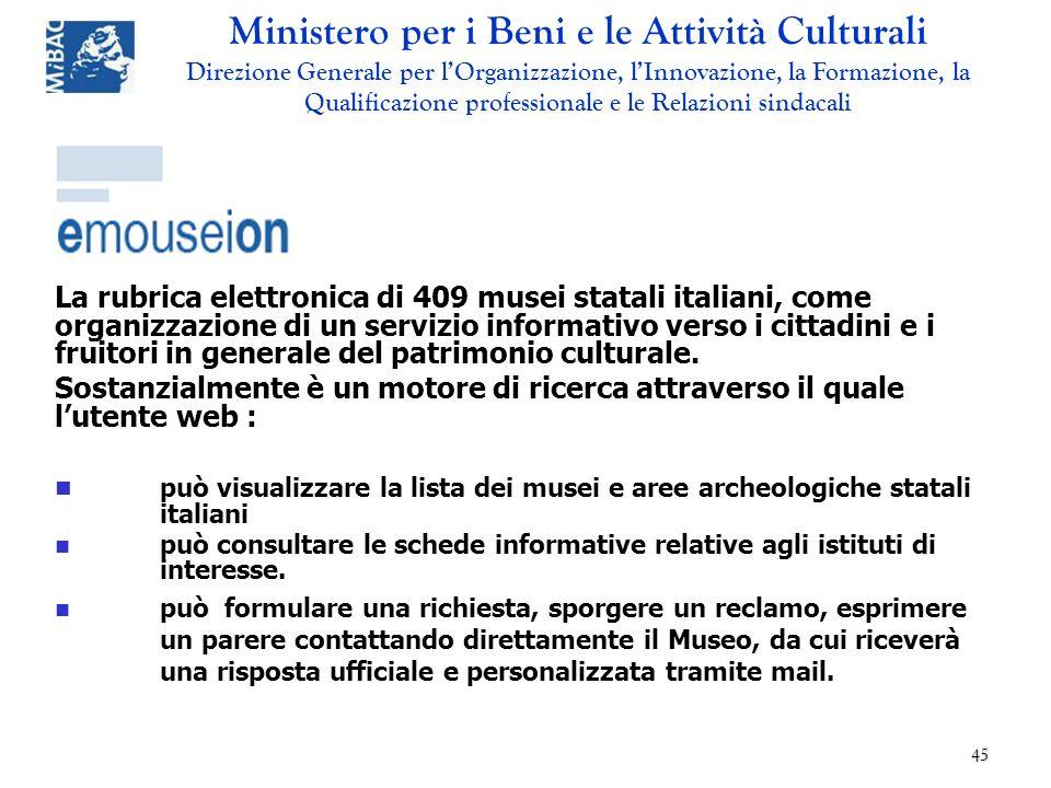 La rubrica elettronica di 409 musei statali italiani, come organizzazione di un servizio informativo verso i cittadini e i fruitori in generale del patrimonio culturale.