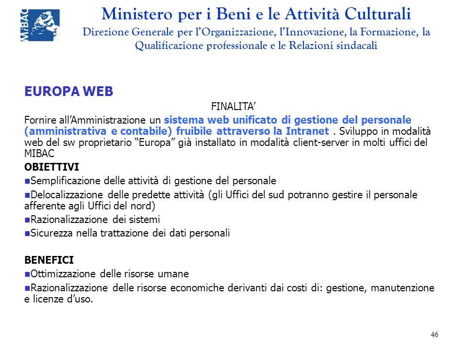 EUROPA WEB FINALITA'