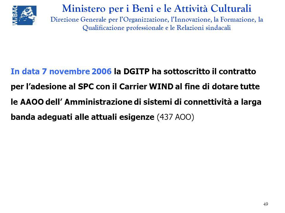 In data 7 novembre 2006 la DGITP ha sottoscritto il contratto per l'adesione al SPC con il Carrier WIND al fine di dotare tutte le AAOO dell' Amministrazione di sistemi di connettività a larga banda adeguati alle attuali esigenze (437 AOO)