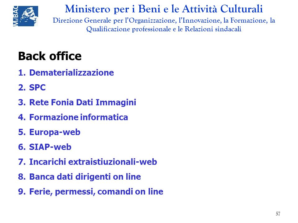 Back office Dematerializzazione SPC Rete Fonia Dati Immagini