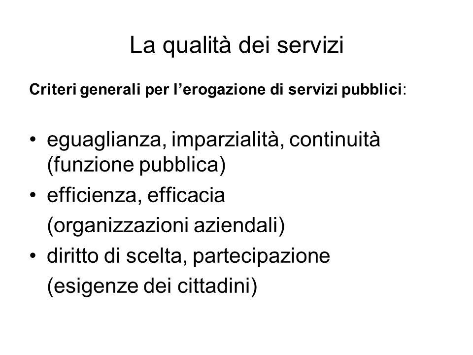 La qualità dei servizi Criteri generali per l'erogazione di servizi pubblici: eguaglianza, imparzialità, continuità (funzione pubblica)