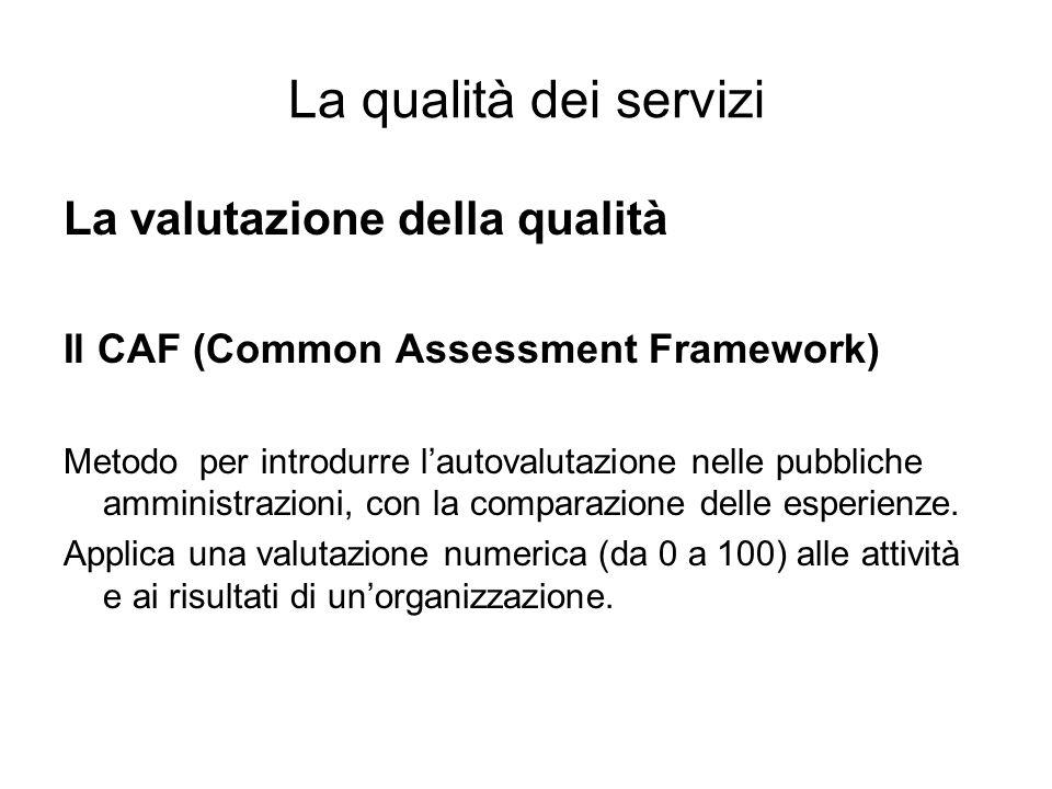 La qualità dei servizi La valutazione della qualità