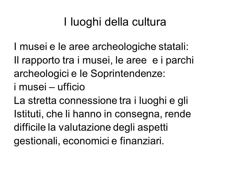 I Iuoghi della cultura I musei e le aree archeologiche statali: