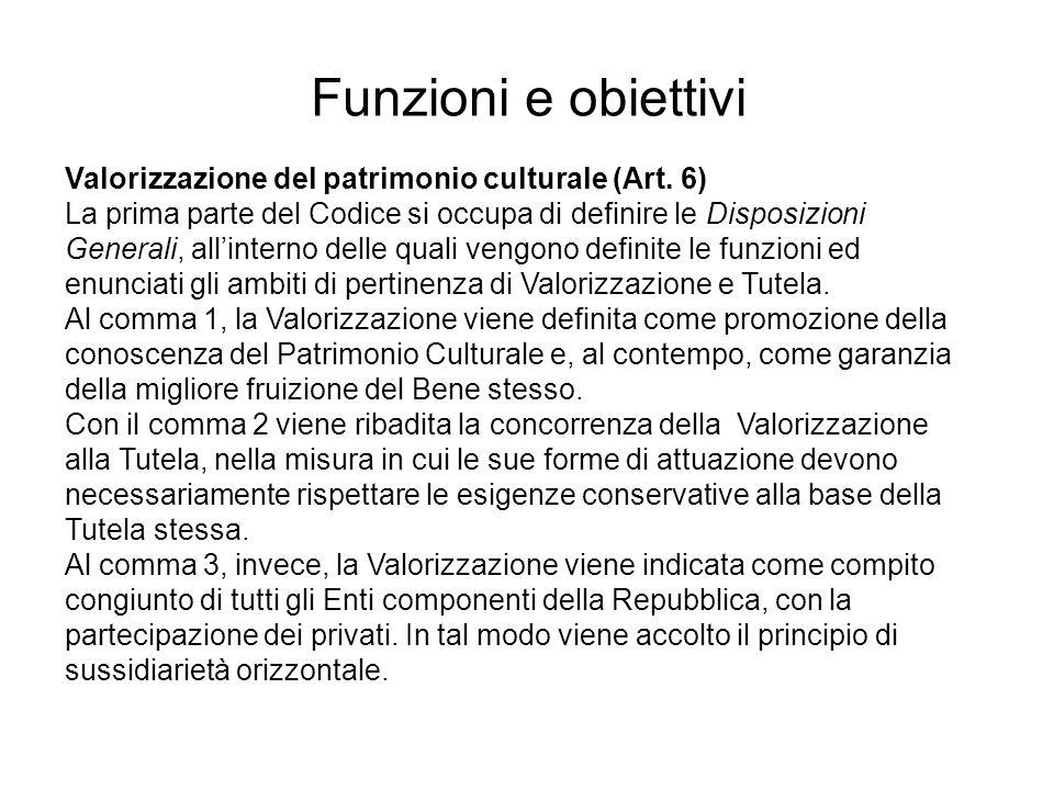 Funzioni e obiettivi Valorizzazione del patrimonio culturale (Art. 6)