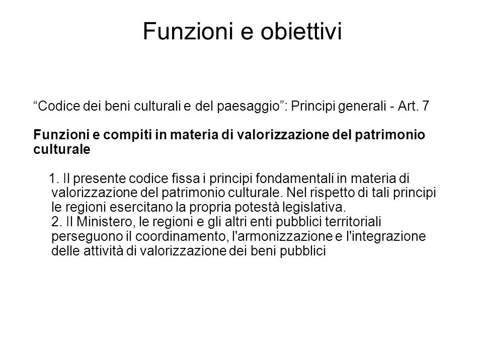Funzioni e obiettivi Codice dei beni culturali e del paesaggio : Principi generali - Art. 7.