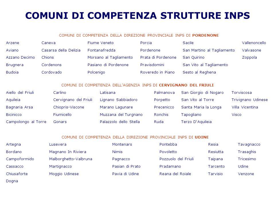 COMUNI DI COMPETENZA STRUTTURE INPS