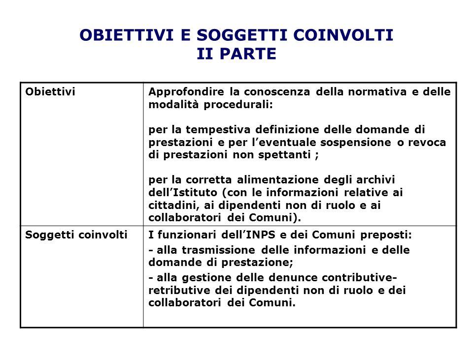 OBIETTIVI E SOGGETTI COINVOLTI II PARTE