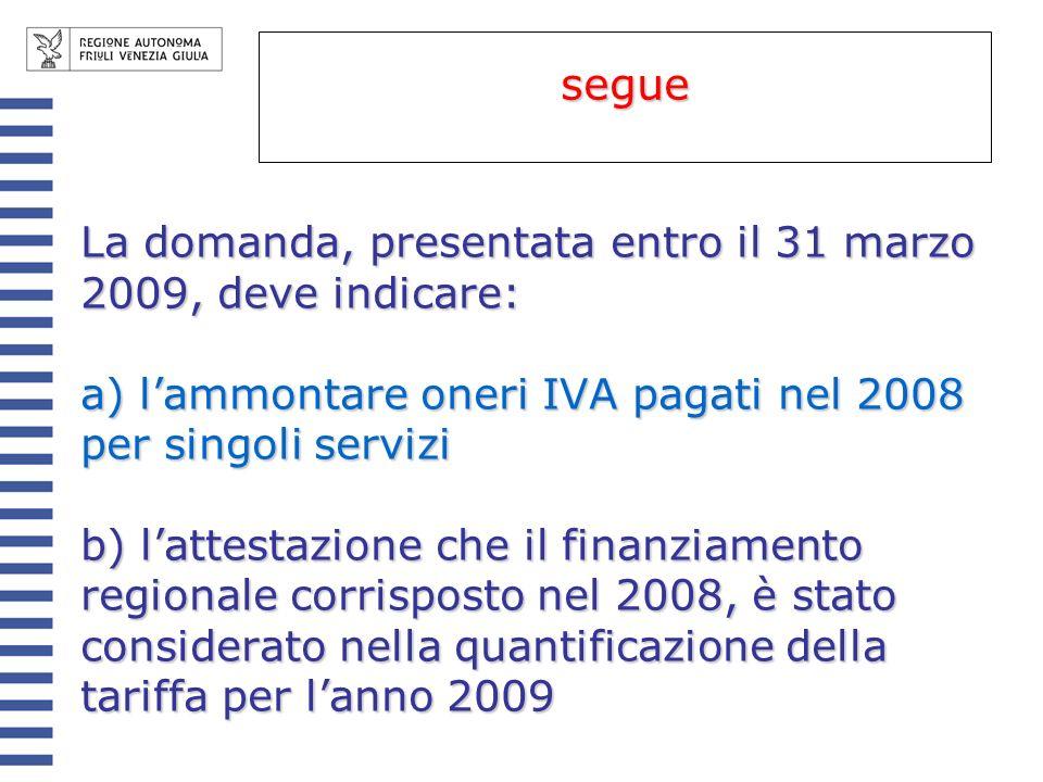 segue La domanda, presentata entro il 31 marzo 2009, deve indicare: