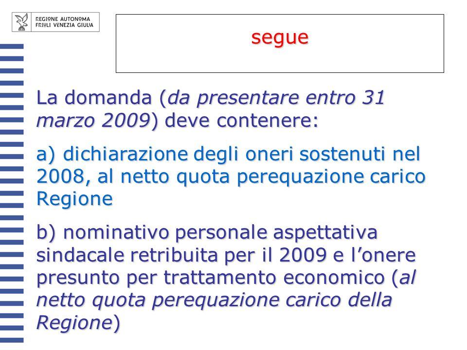 La domanda (da presentare entro 31 marzo 2009) deve contenere: