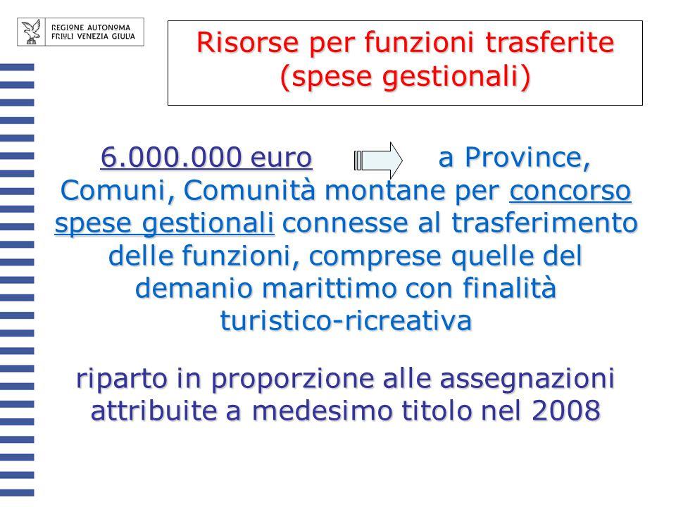 Risorse per funzioni trasferite (spese gestionali)