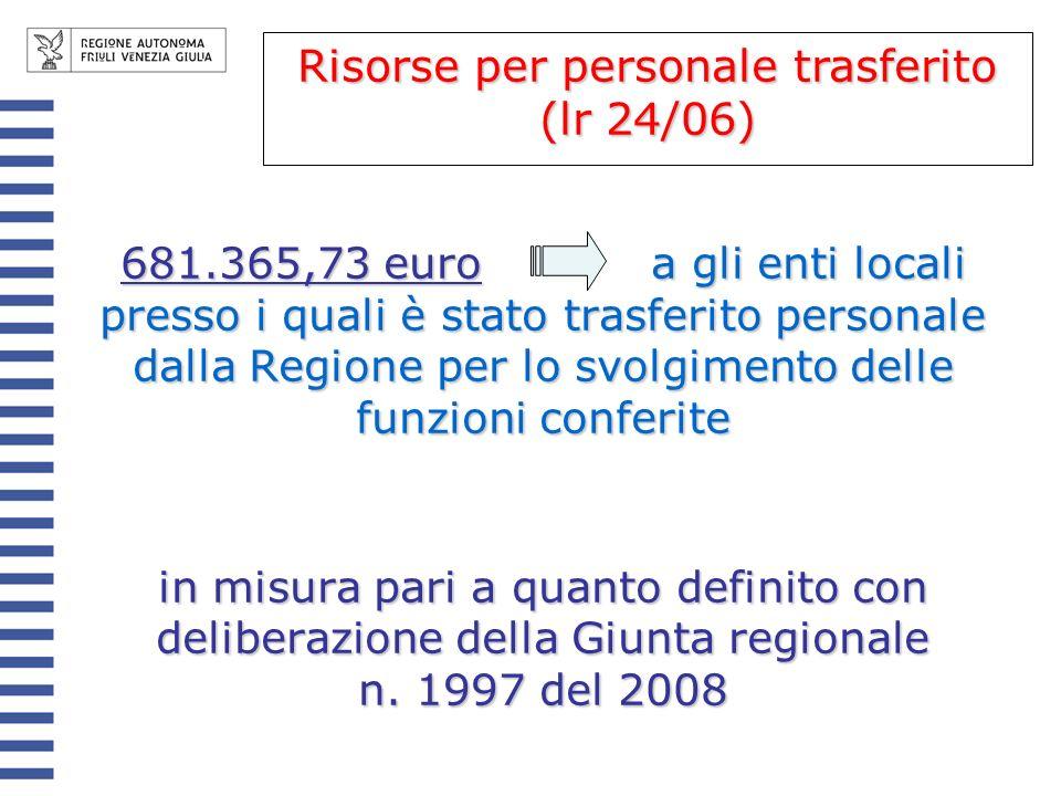 Risorse per personale trasferito (lr 24/06)