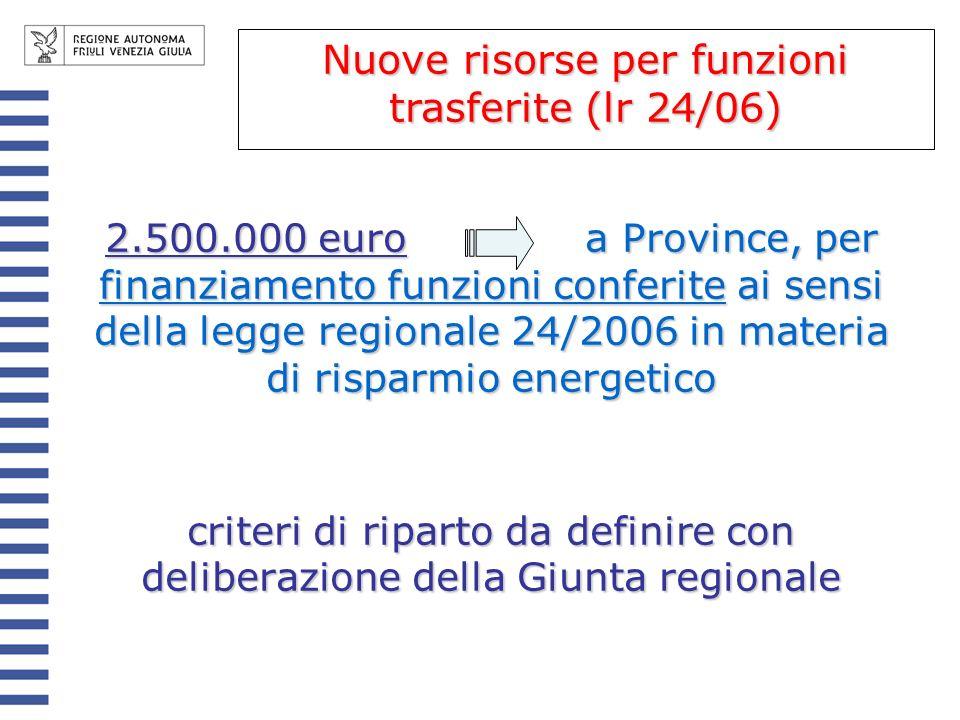 Nuove risorse per funzioni trasferite (lr 24/06)