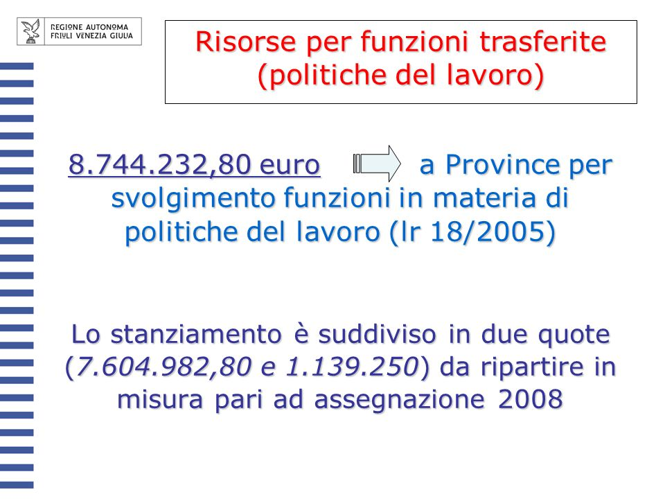 Risorse per funzioni trasferite (politiche del lavoro)