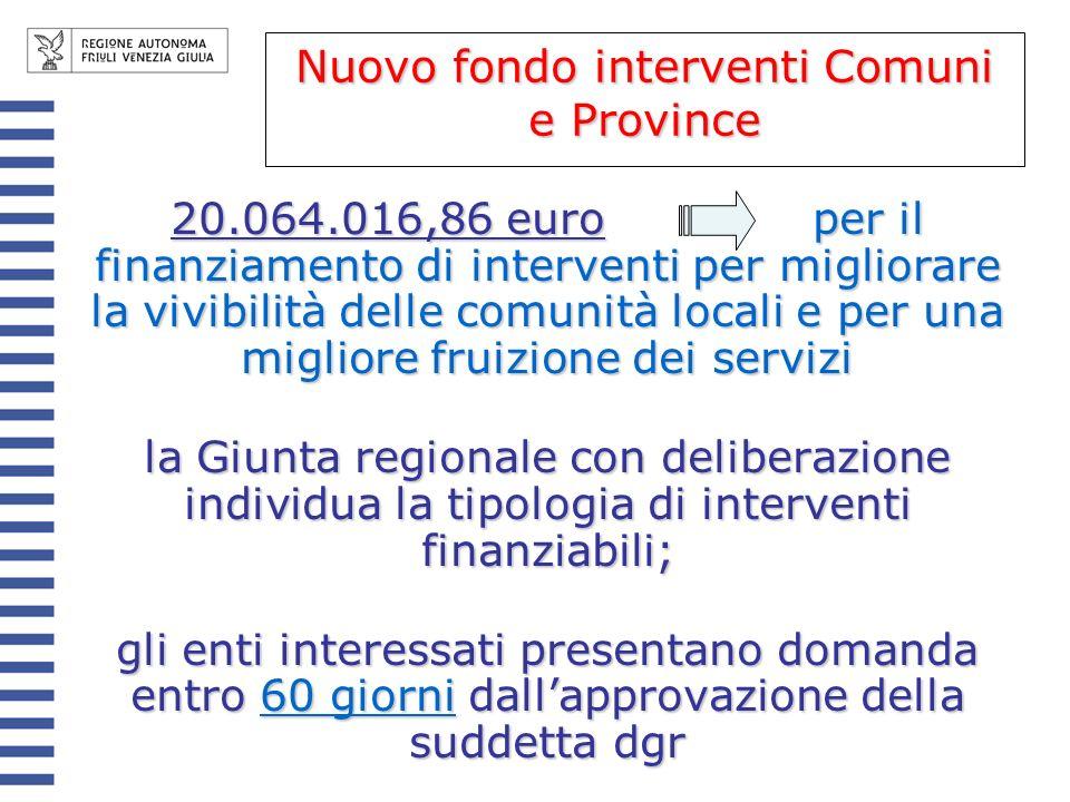 Nuovo fondo interventi Comuni e Province