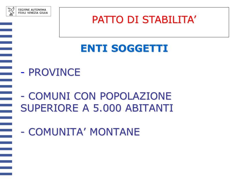 PATTO DI STABILITA' ENTI SOGGETTI. PROVINCE. COMUNI CON POPOLAZIONE SUPERIORE A 5.000 ABITANTI.