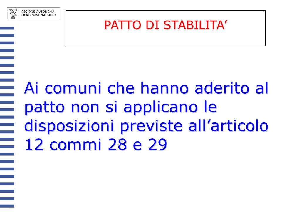 PATTO DI STABILITA' Ai comuni che hanno aderito al patto non si applicano le disposizioni previste all'articolo 12 commi 28 e 29.