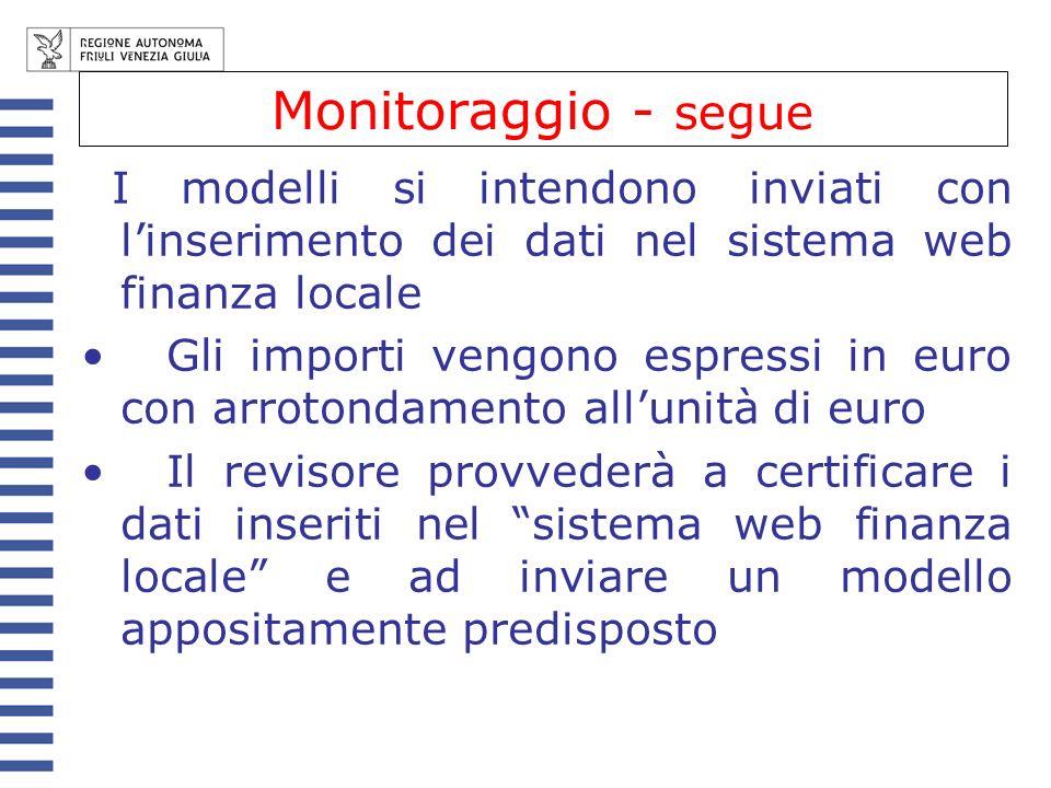 Monitoraggio - segue I modelli si intendono inviati con l'inserimento dei dati nel sistema web finanza locale.