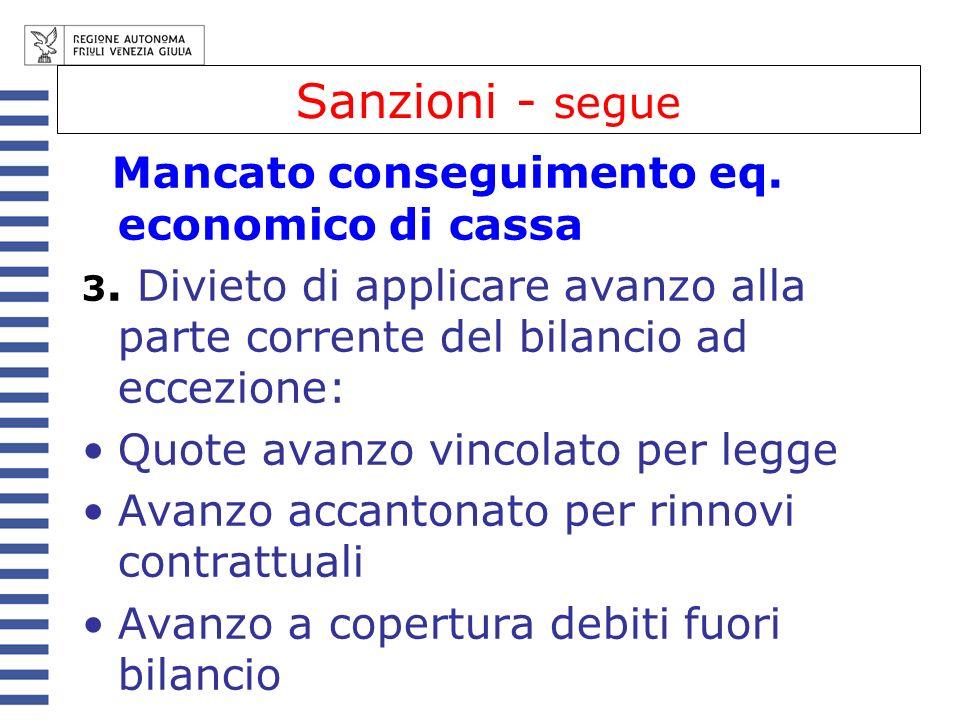 Sanzioni - segue Mancato conseguimento eq. economico di cassa
