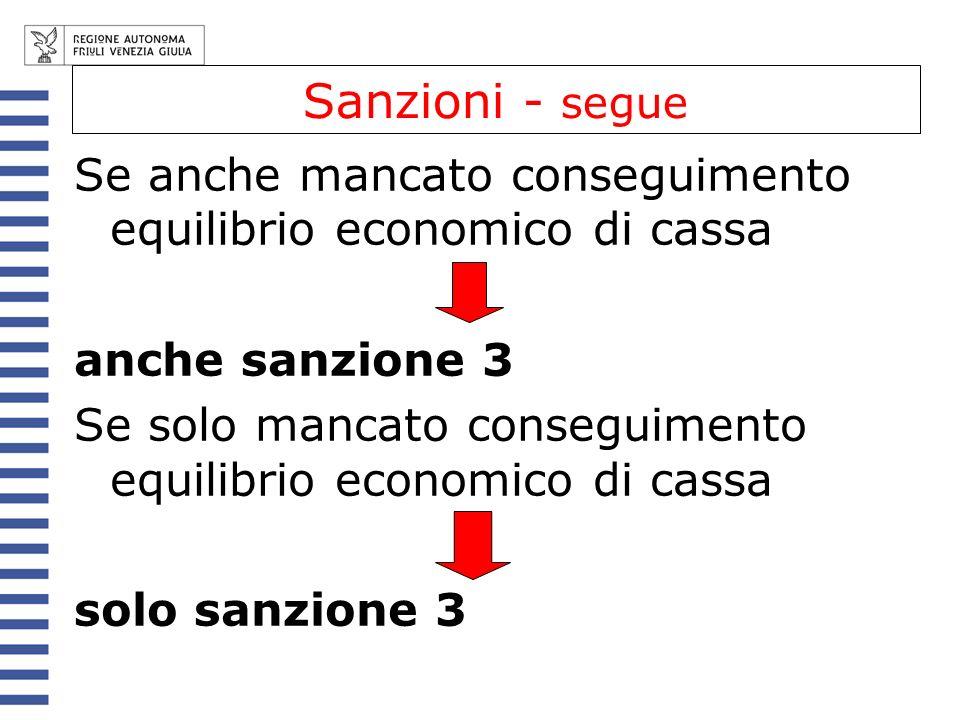 Sanzioni - segue Se anche mancato conseguimento equilibrio economico di cassa. anche sanzione 3.
