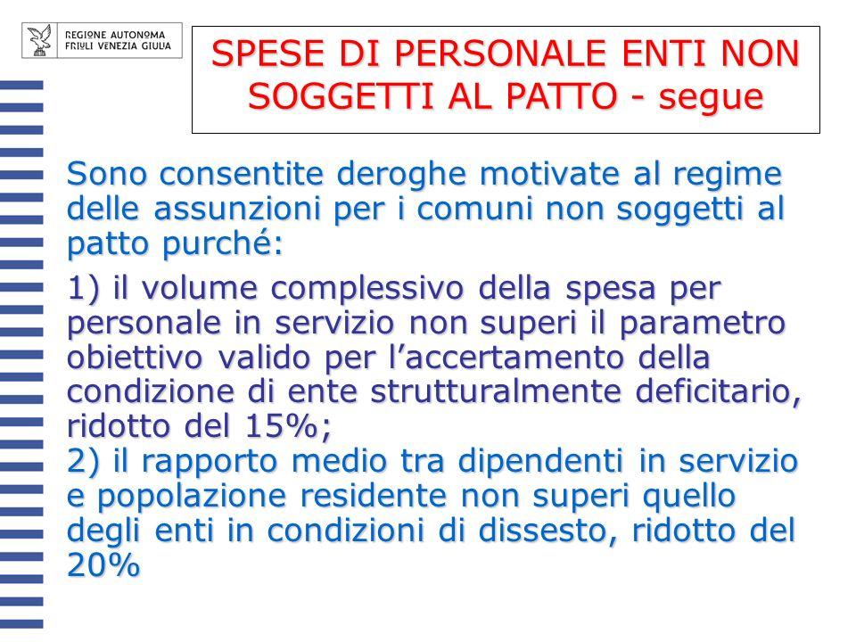 SPESE DI PERSONALE ENTI NON SOGGETTI AL PATTO - segue