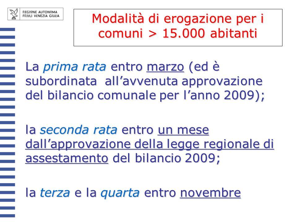 Modalità di erogazione per i comuni > 15.000 abitanti