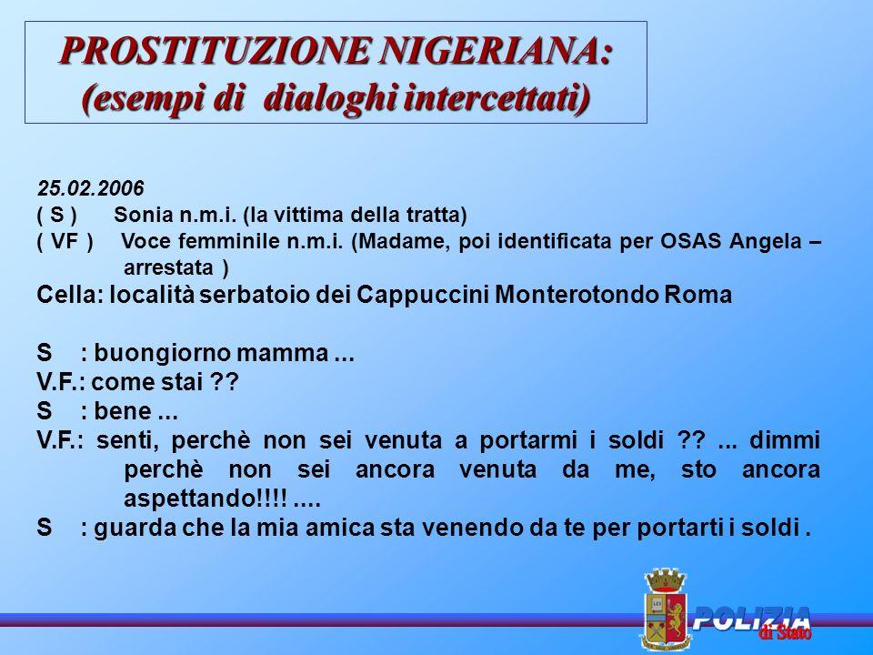 PROSTITUZIONE NIGERIANA: (esempi di dialoghi intercettati)