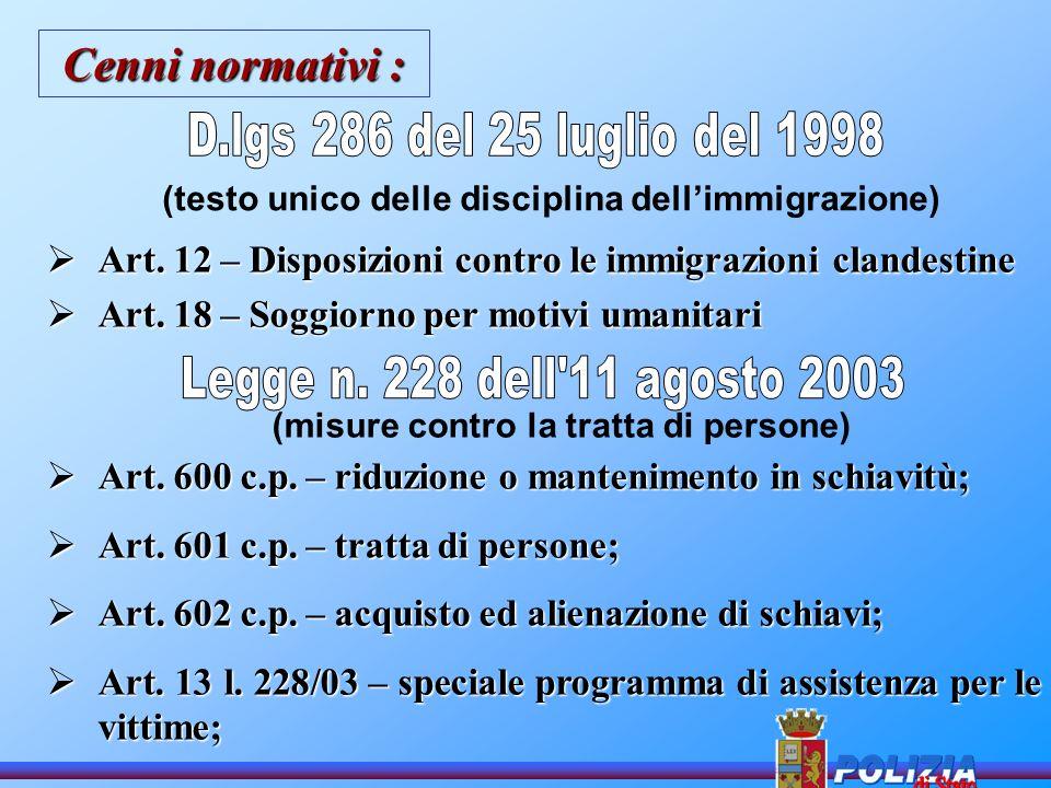 Il friuli venezia giulia in rete contro la tratta ppt for Permesso di soggiorno per motivi umanitari art 11