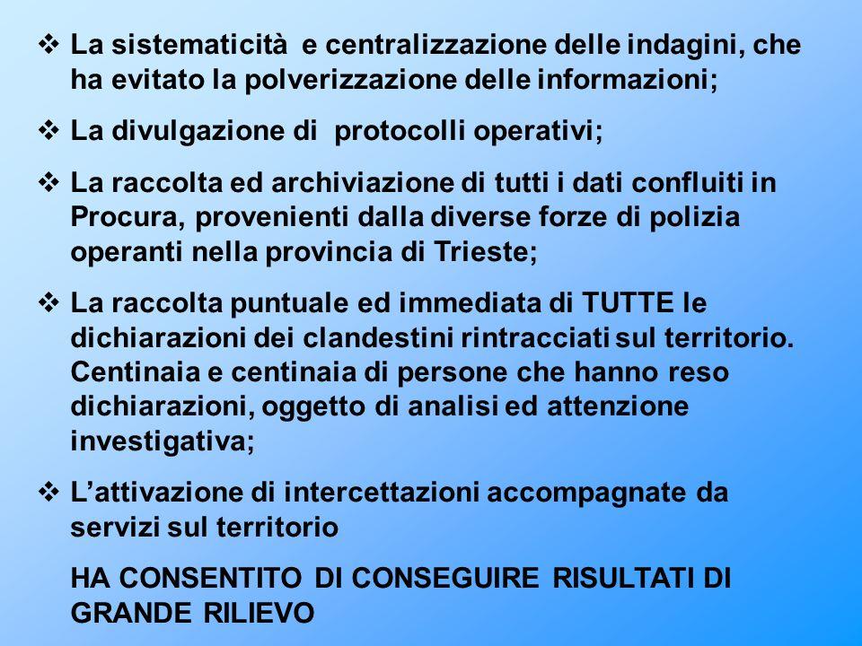 La sistematicità e centralizzazione delle indagini, che ha evitato la polverizzazione delle informazioni;