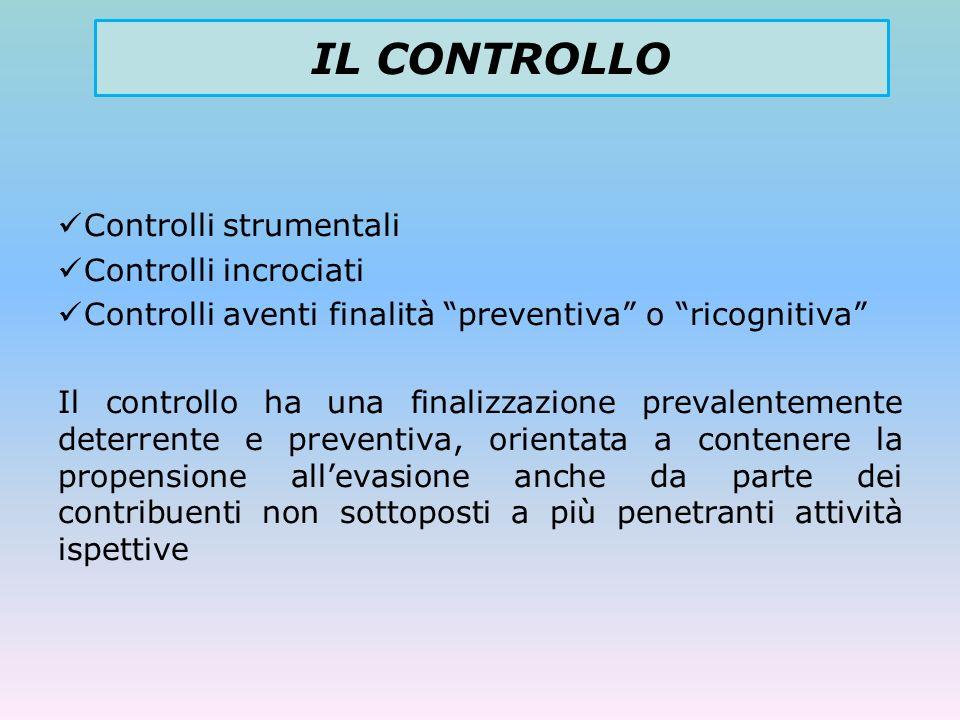 IL CONTROLLO Controlli strumentali Controlli incrociati