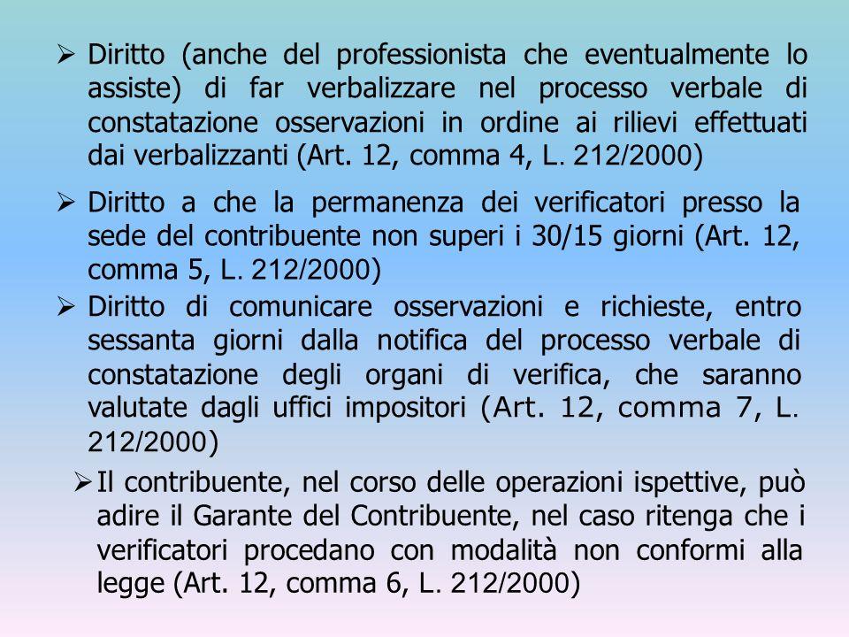 Diritto (anche del professionista che eventualmente lo assiste) di far verbalizzare nel processo verbale di constatazione osservazioni in ordine ai rilievi effettuati dai verbalizzanti (Art. 12, comma 4, L. 212/2000)