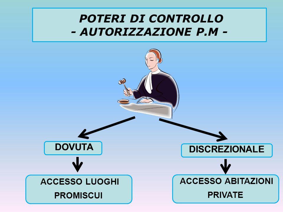 POTERI DI CONTROLLO - AUTORIZZAZIONE P.M -