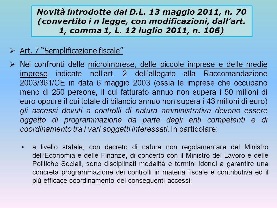 Art. 7 Semplificazione fiscale