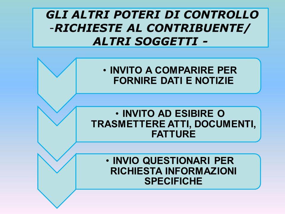 GLI ALTRI POTERI DI CONTROLLO RICHIESTE AL CONTRIBUENTE/