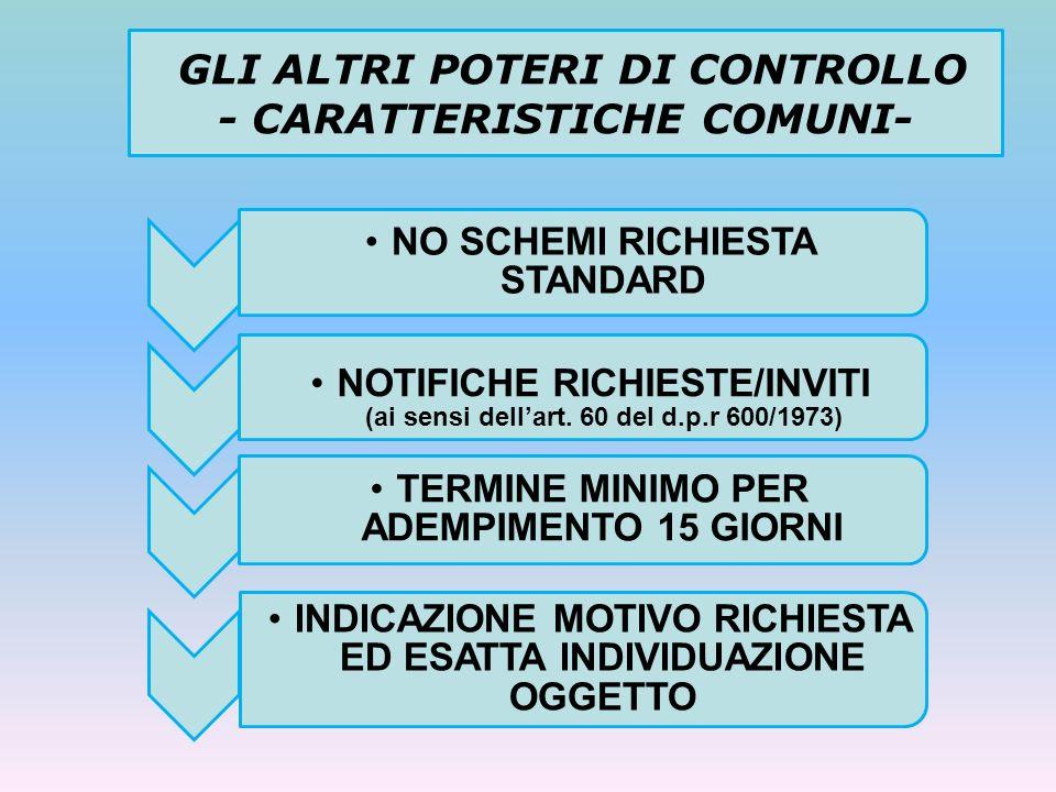 GLI ALTRI POTERI DI CONTROLLO - CARATTERISTICHE COMUNI-