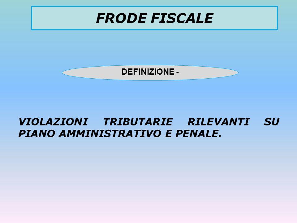 FRODE FISCALE DEFINIZIONE - VIOLAZIONI TRIBUTARIE RILEVANTI SU PIANO AMMINISTRATIVO E PENALE.