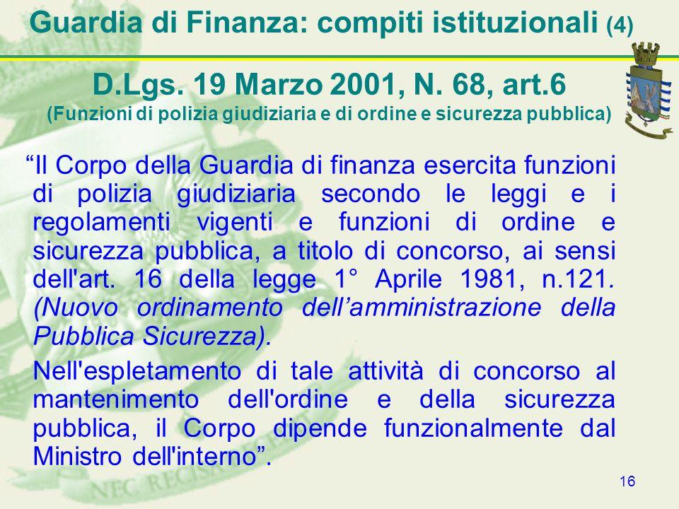 Guardia di Finanza: compiti istituzionali (4)
