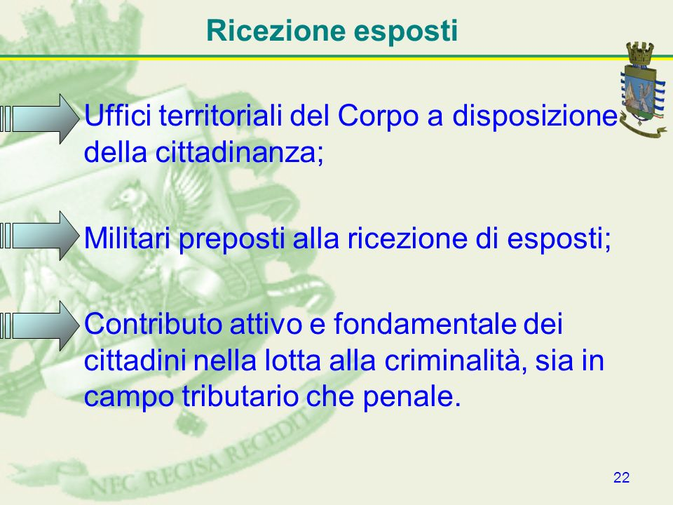 Ricezione esposti Uffici territoriali del Corpo a disposizione della cittadinanza; Militari preposti alla ricezione di esposti;