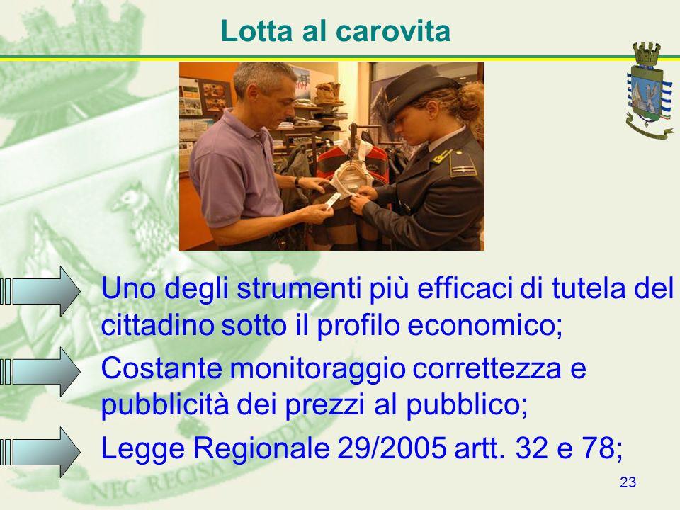 Lotta al carovitaUno degli strumenti più efficaci di tutela del cittadino sotto il profilo economico;