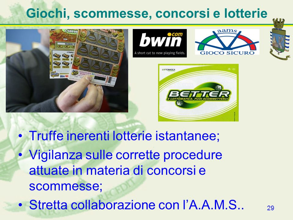 Giochi, scommesse, concorsi e lotterie