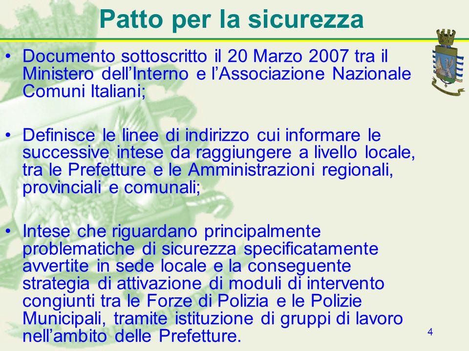 Patto per la sicurezza Documento sottoscritto il 20 Marzo 2007 tra il Ministero dell'Interno e l'Associazione Nazionale Comuni Italiani;