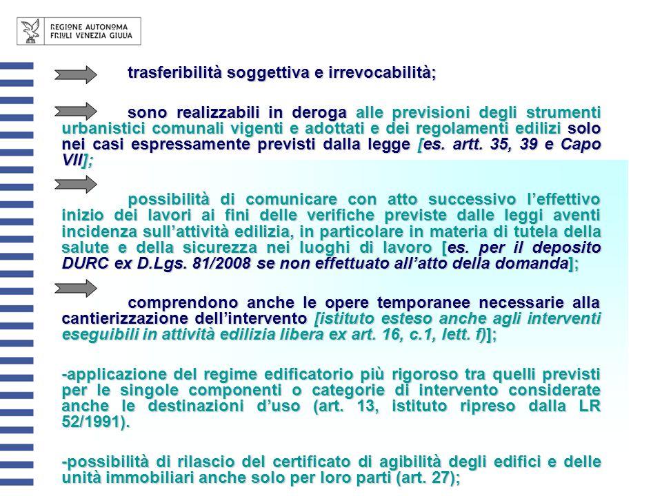 trasferibilità soggettiva e irrevocabilità;