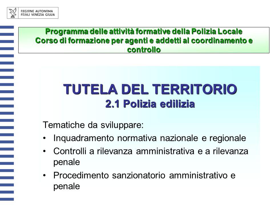 TUTELA DEL TERRITORIO 2.1 Polizia edilizia Tematiche da sviluppare: