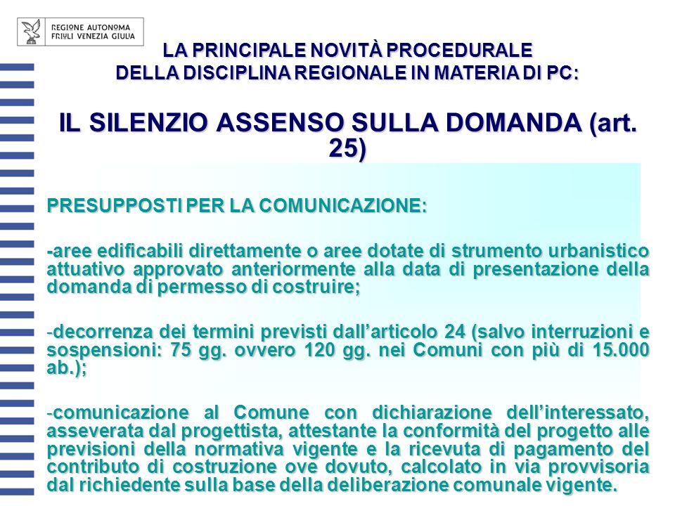 IL SILENZIO ASSENSO SULLA DOMANDA (art. 25)